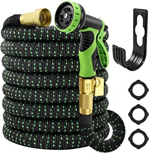 Garden Hose Expandable 50ft, Water Hose With 10 Function Spray Nozzle,Lefree Heavy Duty Flexible Hose,3/4