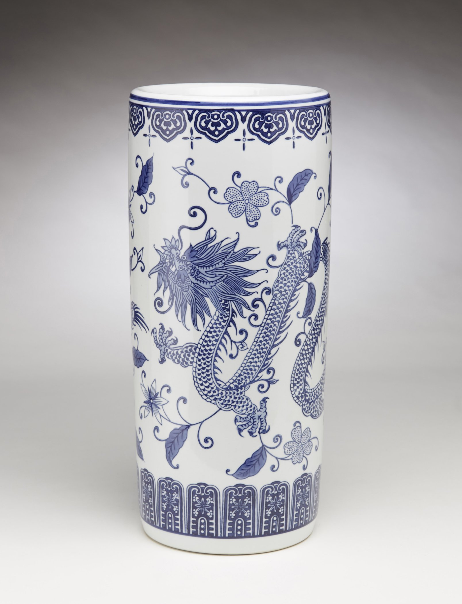 Porcelain Free Standing Umbrella Racks Aa Importing 59825 Umbrella Stand 18 In Dragon Pattern 8 X 18 X 8 Inches Blue Model # 59825