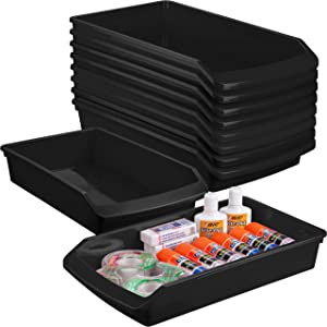 Zilpoo 10 Pack – Plastic Shelf Bins, Closet Shelves Organization Trays, Office Desk Supplies Drawer Organizer, Dorm Room Storage Container, Garage Hardware Baskets