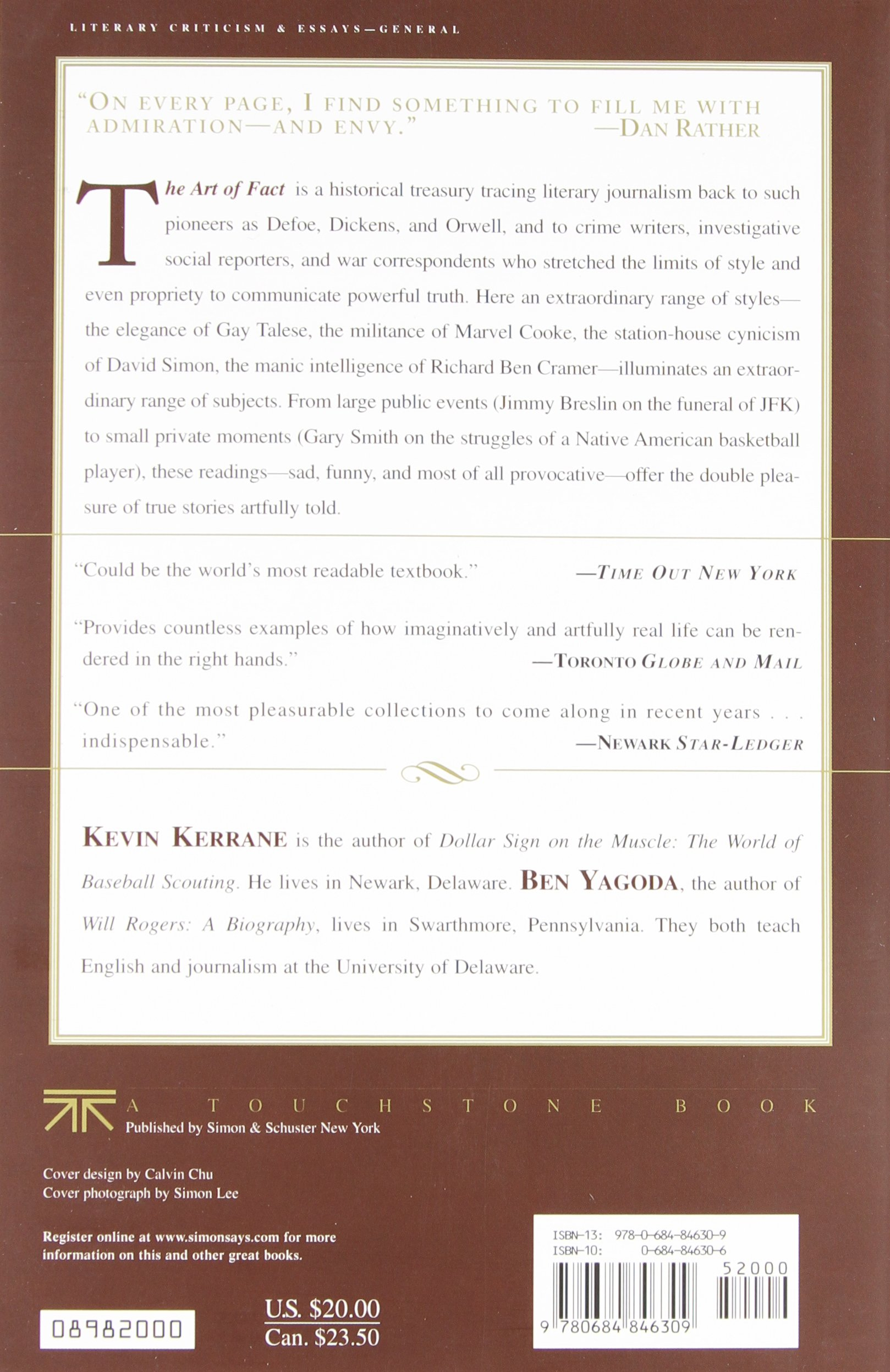 Buy The Art of Fact: A Historical Anthology of Literary Journalism Book  Online at Low Prices in India | The Art of Fact: A Historical Anthology of  Literary ...