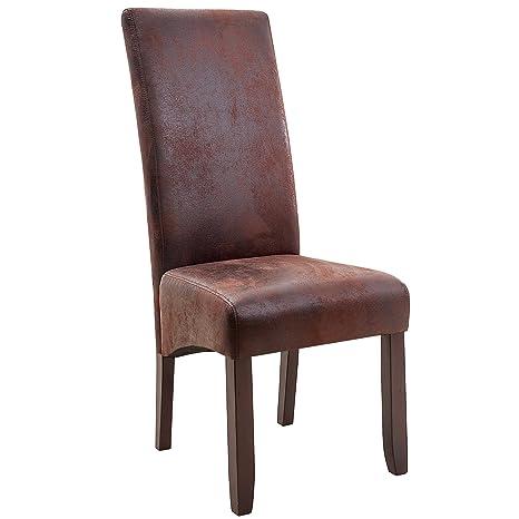 Massiver Kolonial Stuhl VALENTINO braun Vintage Look Sheesham Esszimmer Stuhl