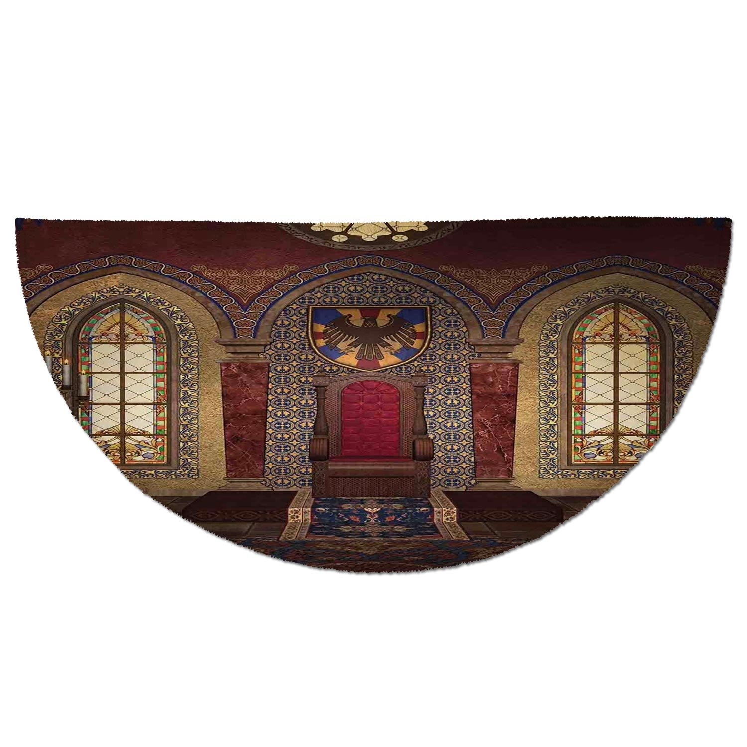 Half Round Door Mat Entrance Rug Floor Mats,Gothic,Red Medieval Throne in Chapel Eagle Portrait on Wall Ancient Fantasy Building Print,Brown Ruby,Garage Entry Carpet Decor for House Patio Grass Water