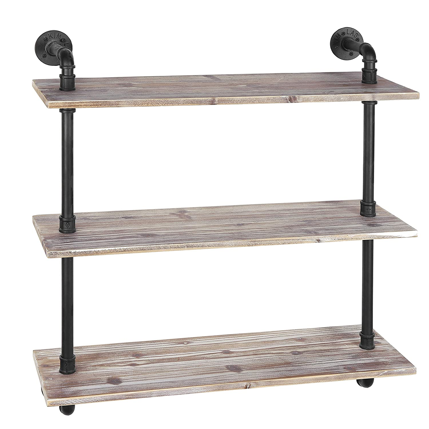 amazon com mygift 3 shelf industrial style pipe rustic wood wall rh amazon com Industrial Pipe Wall Shelves Metal Wall Mounted Shelves