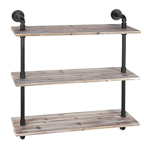 new product bfdc2 9c6e6 MyGift 3-Shelf Industrial Style Pipe & Rustic Wood Wall Mounted Shelving  Unit