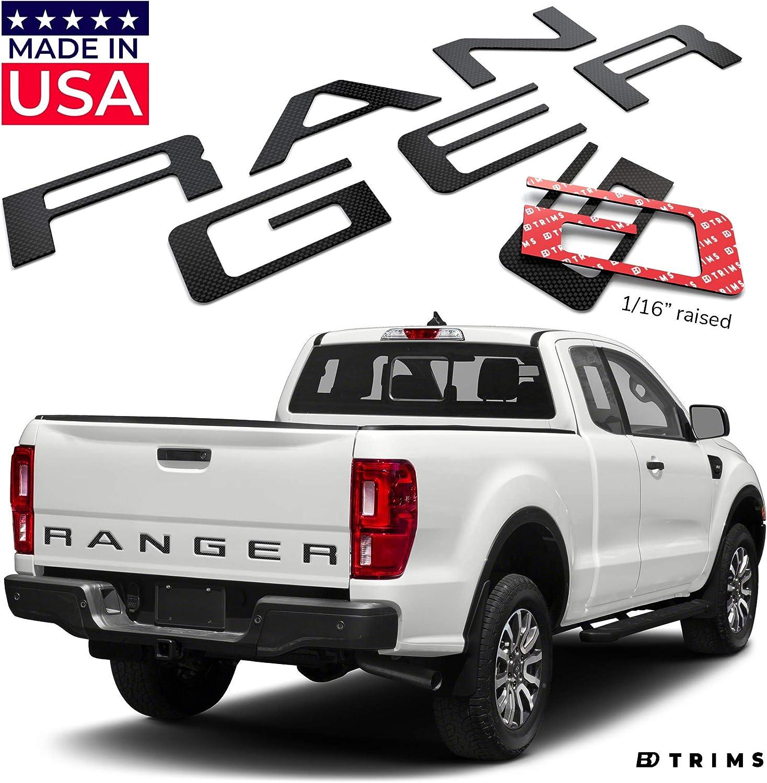BDTrims Tailgate Raised Letters Compatible with 2019 2020 Ranger Models Matte Black