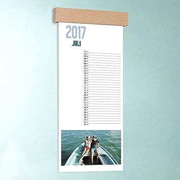 Küchen-Kalender mit Foto selber gestalten, Jahresweiser, Wandkalender  148x360 mit edler Holzblende, Fotokalender 2017