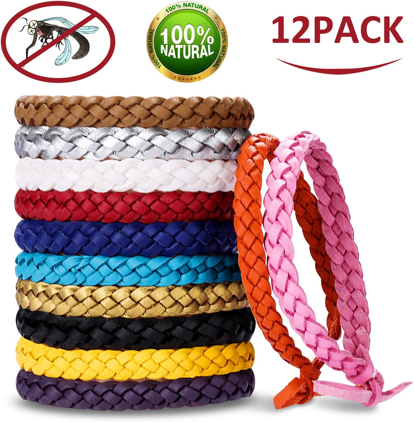 Safe Pest Control for Kids and Adults Long-Lasting Waterproof Anti Insects,Bugs and Midge Mosquito Repellent Bracelet LYUNIT 12 Packs Mosquito Bands 100/% Natural Deet Free Insect Repellent Bands