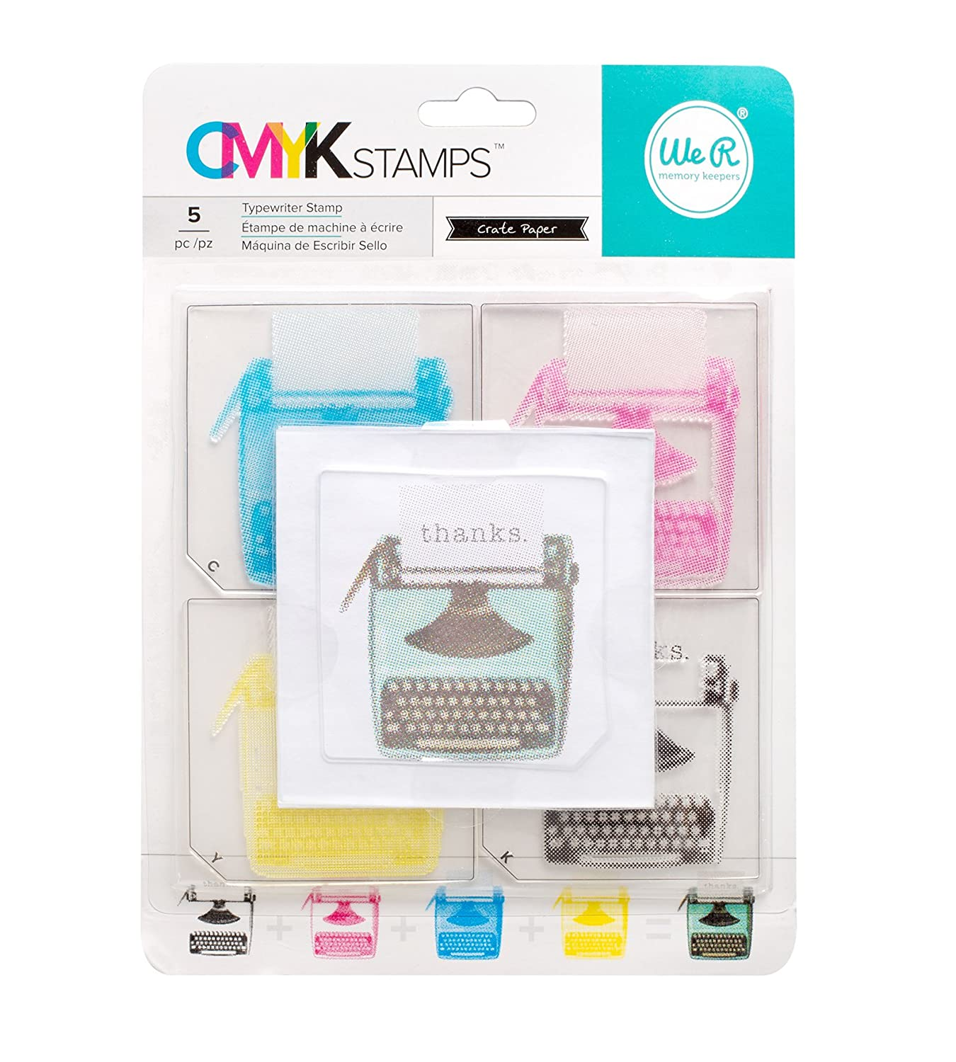 Amazon.com: American Crafts 660539 Typewriter We R Memory Keepers CMYK Stamps