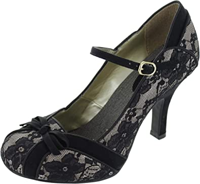 Ruby Shoo Cleo Black Lace Floral Bow Heel Buckle Ankle Strap Court Shoe