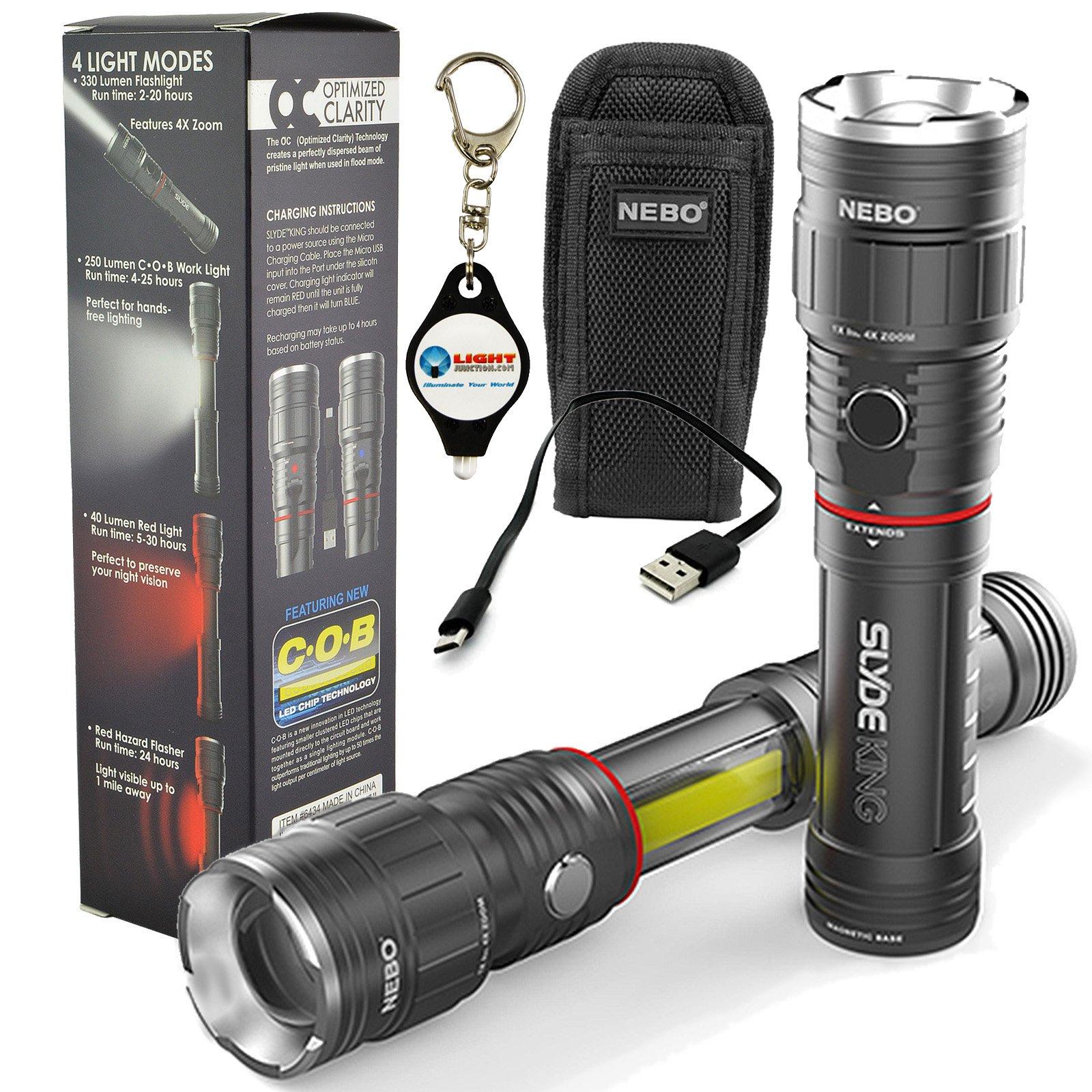 Nebo Slyde King 6434 Rechargeable LED Flashlight Work Light Adjustable Zoom with 6274 Holster and LightJunction Keychain Light