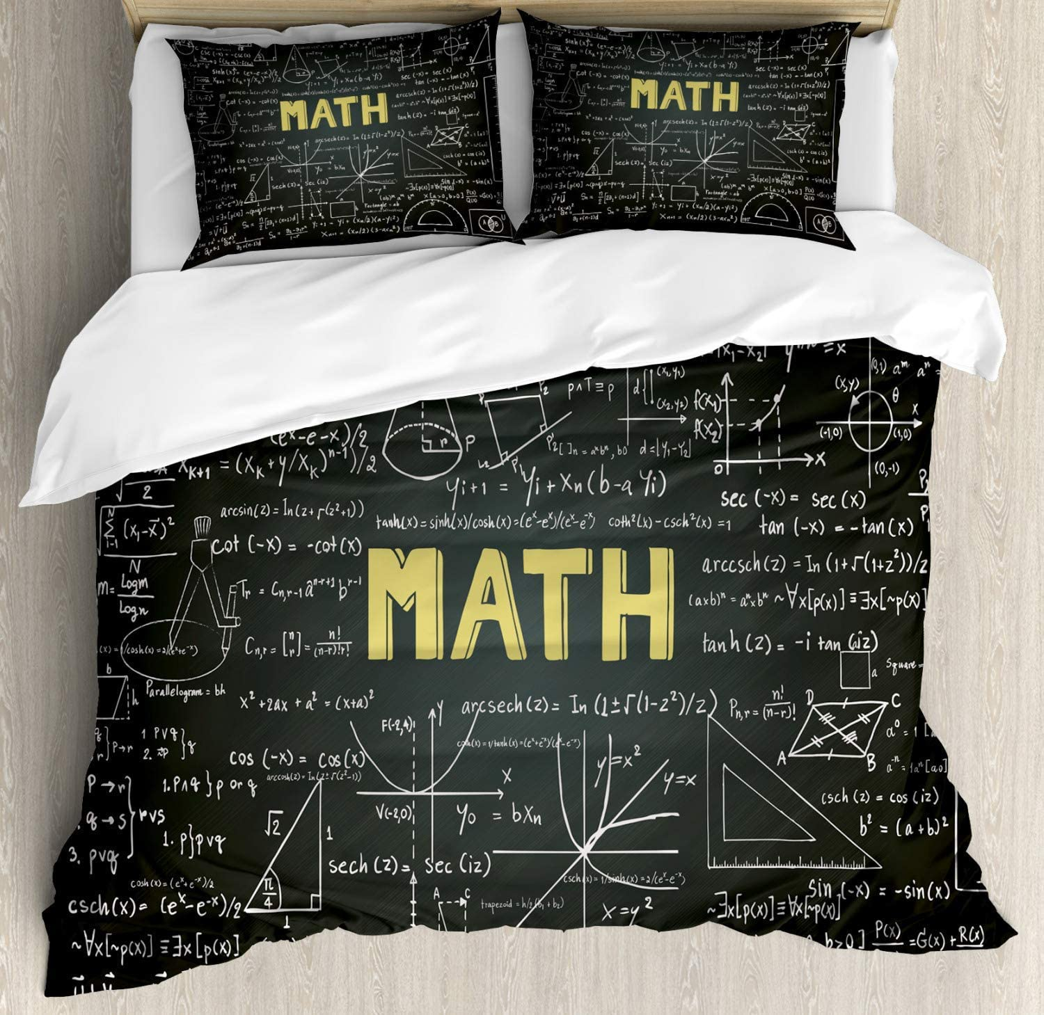 Lplpol Mathematics Classroom Decor Duvet Cover Set, Dark Blackboard Word Math Equations Geometry Axis Bedding Set Comforter Cover 3-Piece Quilt Set with Zipper Closure, Dark Brown White Yellow