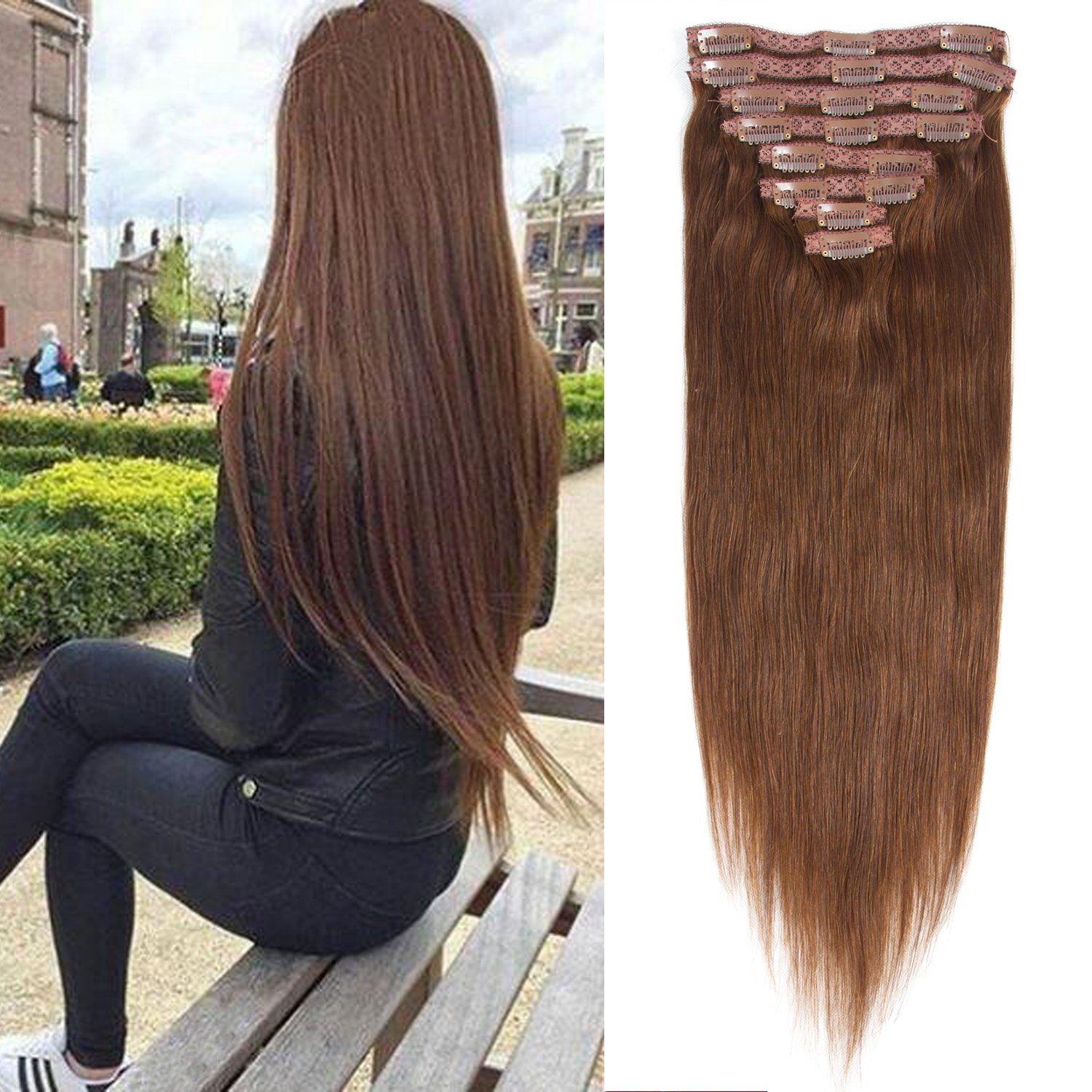 22 inch Clip in Hair Extension 7A Grade Double Weft Long Straight Hair 8 piece 18 clips Full Head 100% Remy Human Hair Extension 100g by Originea (22