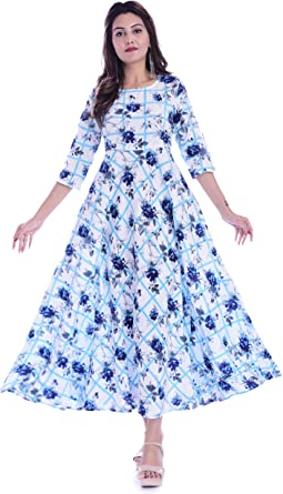 Women Indian Ethnic Kurta Kurti Flared Anarkali Kurta Blue Partywear Gown Dress