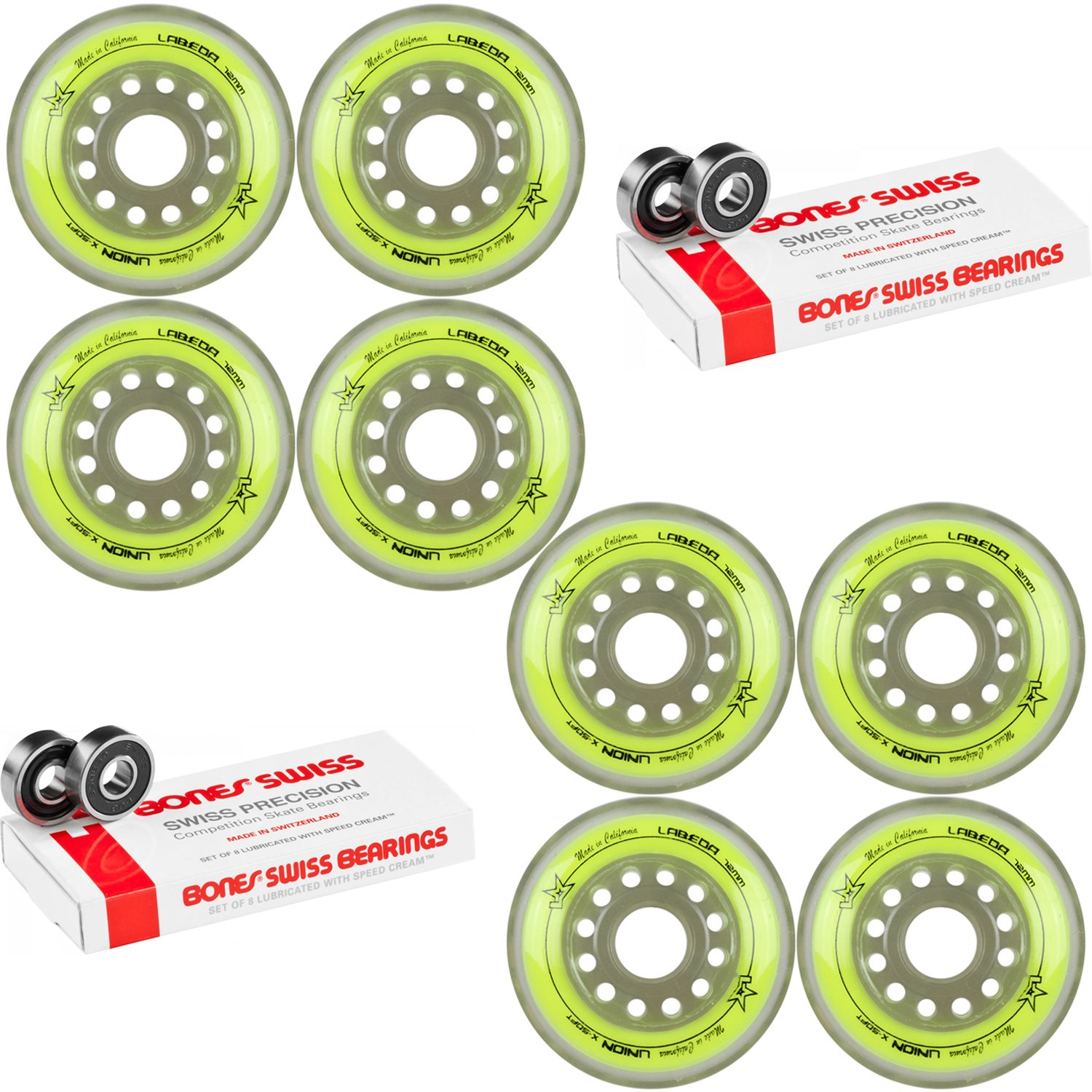 Labeda Inline Roller Hockey Skate Wheels Union Yellow 72mm Set of 8 Bones Swiss