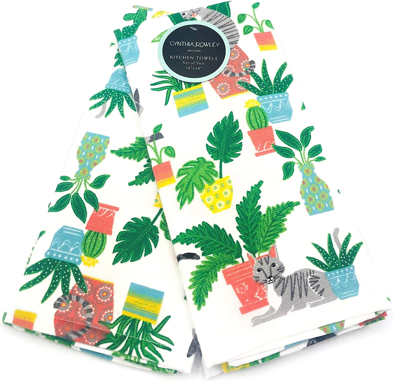 Baking Cooking Set of 2 Soft Absorbent Cotton Kitchen Towels Dishtowels for Kitchen Decor Cynthia Rowley Green House Plants /& Cats Kitchen Towel Set Cleaning /& Drying