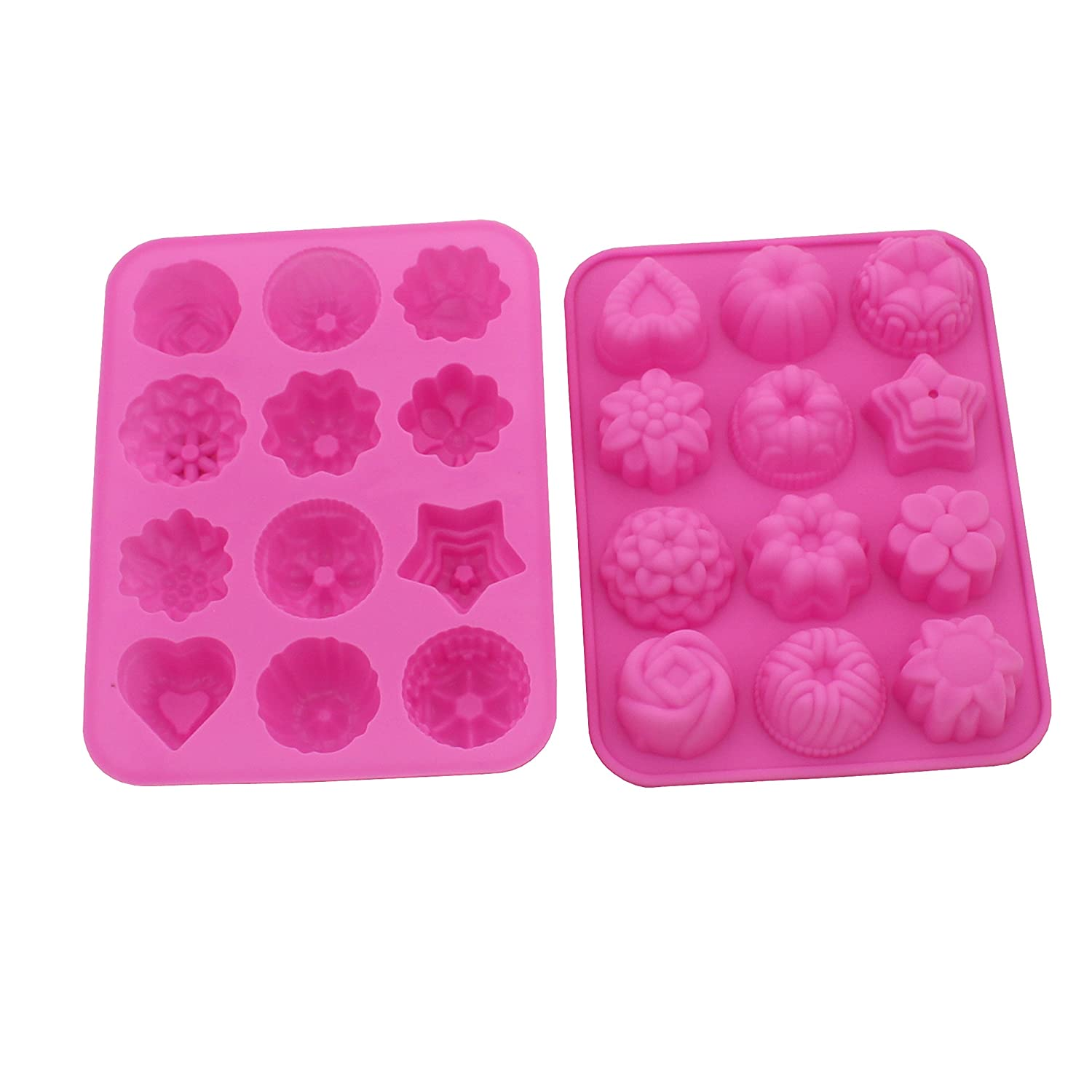 Warmbuy 2 Pack Flower Shaped Silicone Mold for Bath Bomb Soap Chocolate Candy Making
