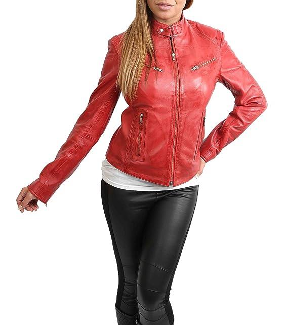 House Of Leather Mujer Cuero Genuino Estilo del Biker Ajustado Chaqueta Casual Khloe Rojo