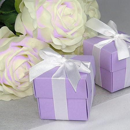 EinsSein 12x Caja de Regalo Boda inbox lila cajas bonitas para cajitas regalos bombones carton bolsitas papel chuches bodas bautizo pequeñas pequeña recordatorios comunion navidad decorar invitaciones: Amazon.es: Hogar
