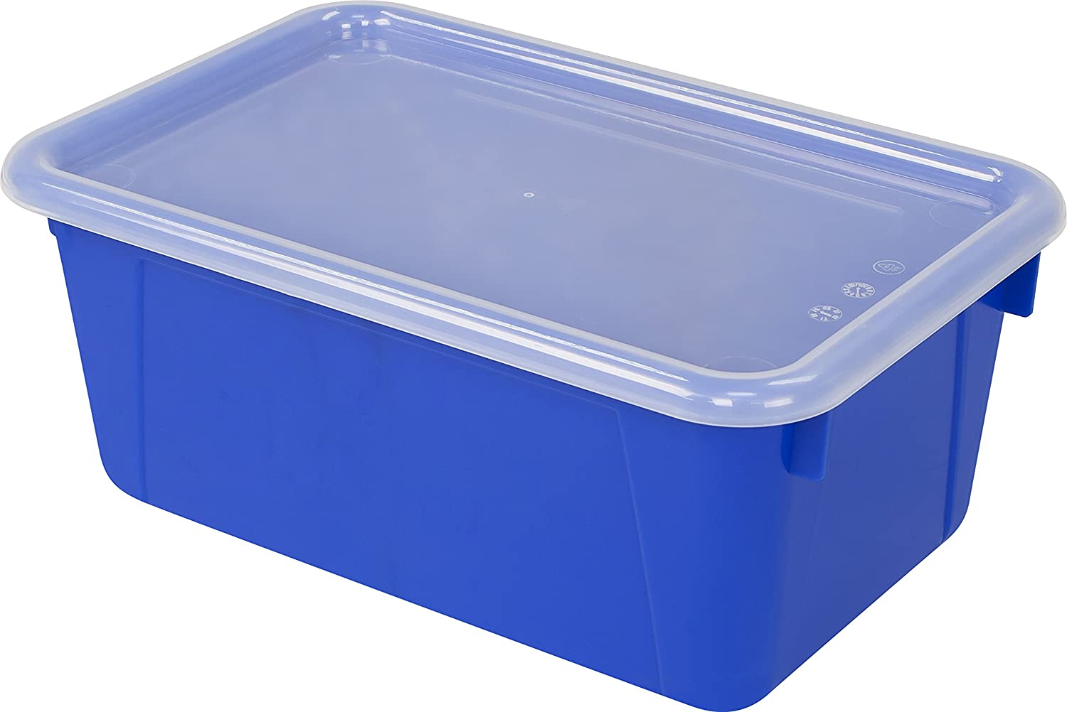 "Storex Small Cubby Bin with Cover, Plastic Storage Container Fits Classroom Cubbies, 12.2"" x 7.8"" x 1"", Blue, Pack of 5 (62408U05C)"