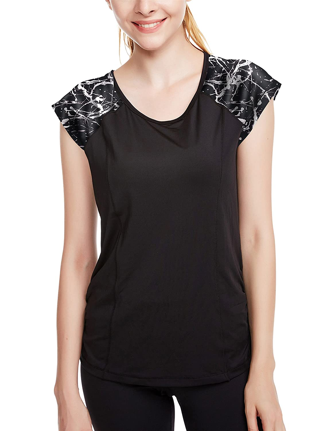d293ff3e10 icyzone Workout Running Shirts for Women - Fitness Gym Yoga Exercise Short  Sleeve T Shirts Open Back Tops