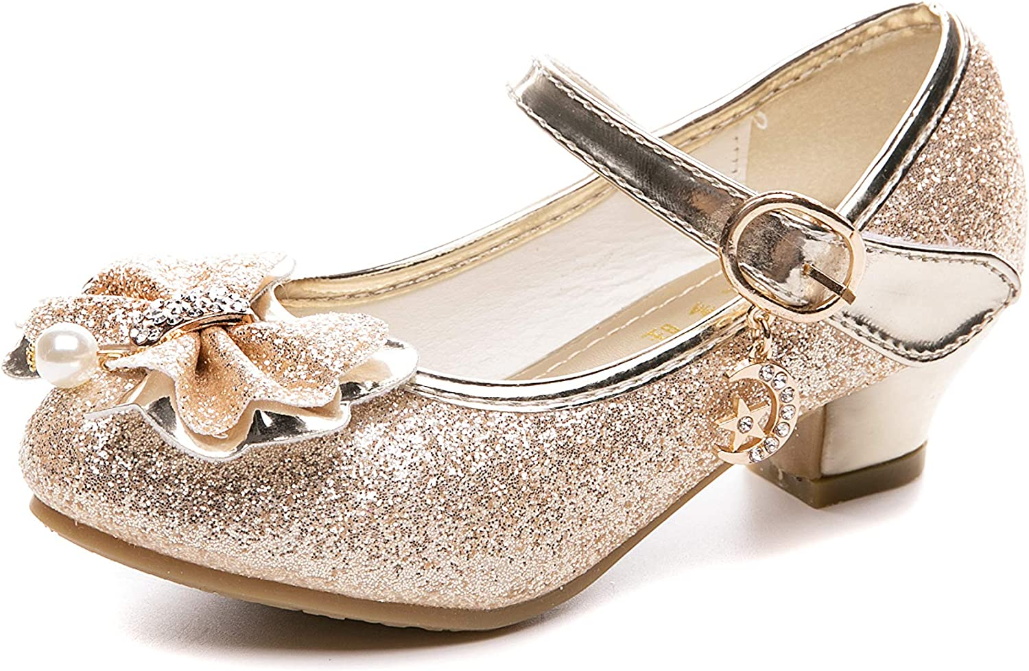 Girls Kids Children Low Heel Party Wedding Mary Jane Sandals Occasion Shoes New