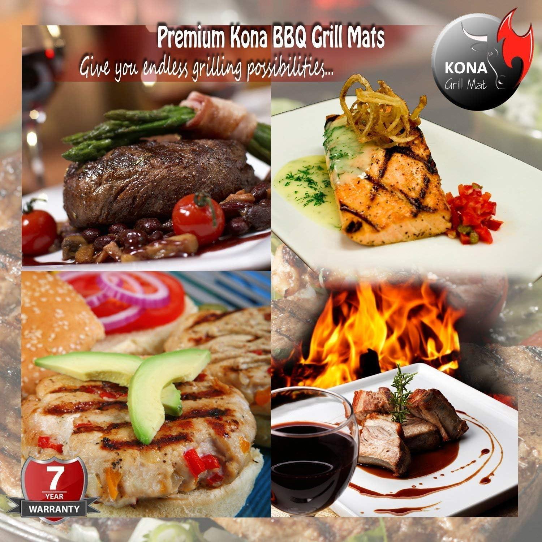 Kona XL Best Grill Mat BBQ Grill Mat Covers The Entire Grill Premium Non-Stick 25x17