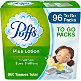 Puffs Plus Lotion Facial Tissues, 96 On-The-Go Travel Packs, 10 Tissues Per Pack (960 Tissues Total)