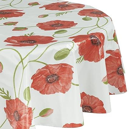 Buy ottomanson vinyl red poppy flower design 55 round indoor ottomanson vinyl red poppy flower design 55quot round indoor outdoor tablecloth non woven mightylinksfo
