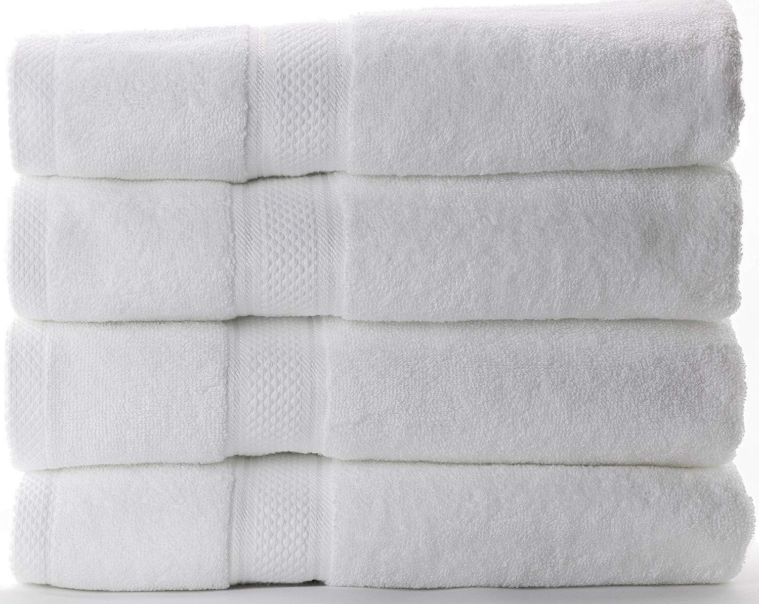 Bath Towel for Hotel and Spa 100% Cotton (White, Set of 4)