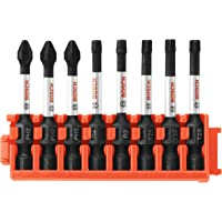 Bosch CCSV208 8Piece Impact Tough Phillips, Square & Torx 2 In. Power Bits with Clip for Custom Case System