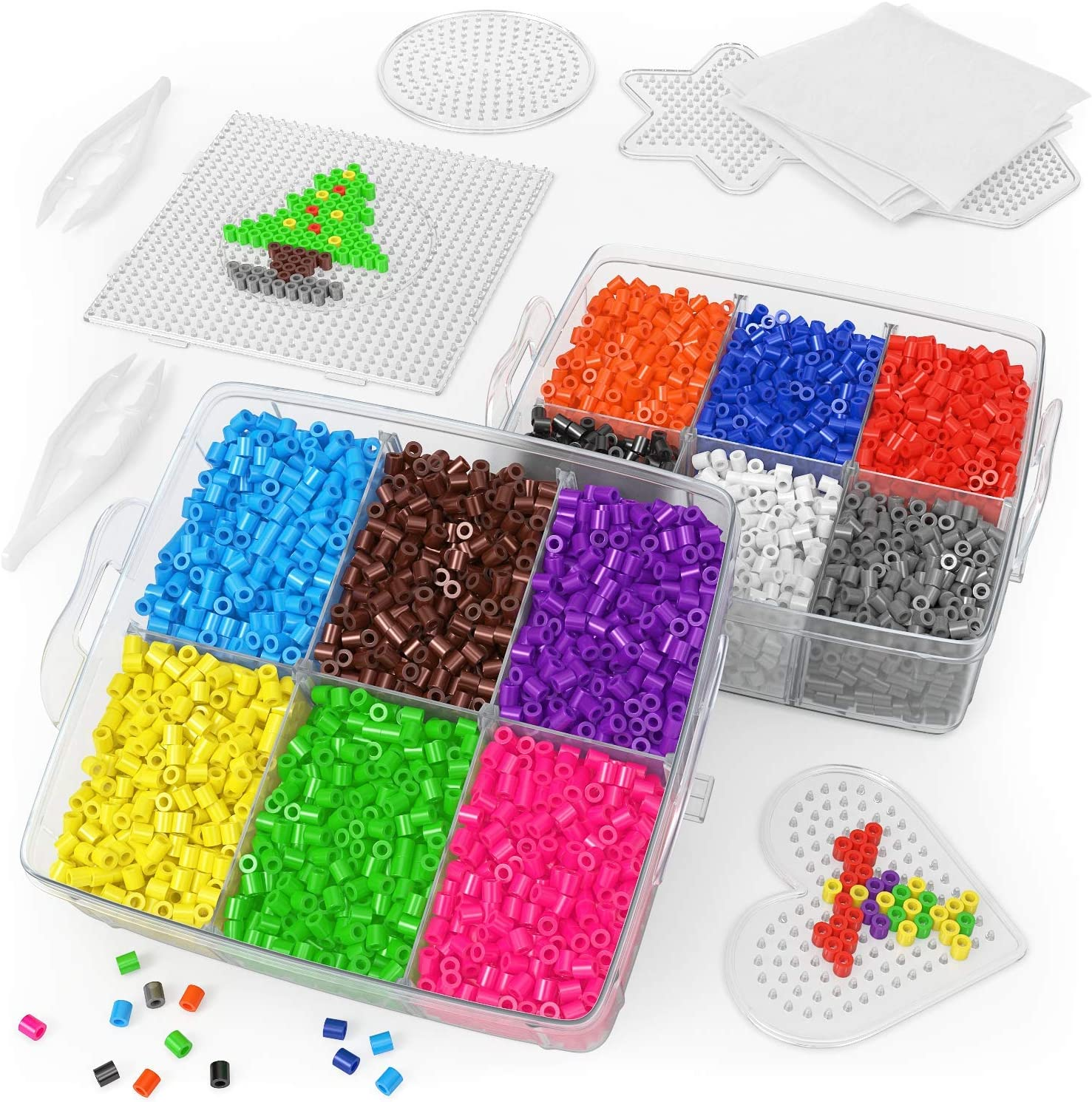 Fuse Beads Kit with 5 Pegboards 5mm 12 Colors 10,000 Beads 2 Tweezers /& 5 Ironing Papers in a 3-Tier Container for Making DIY Crafts ARTEZA Iron Beads for Kids