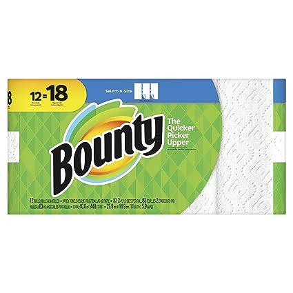 Toallas de papel Bounty Select-A-Size de 2 capas, 28 cm Paquete