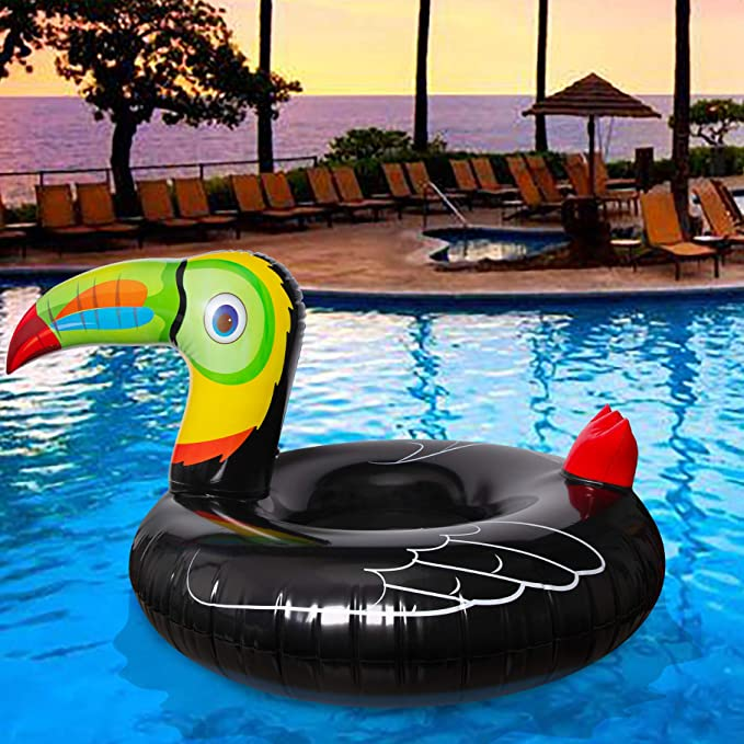 Geefuun Tropical Toucan Inflatable Pool Float Ride On Beach Swimming Ring - Hawaiian Luau Themed Water Toys Party Supplies for Kids Adults