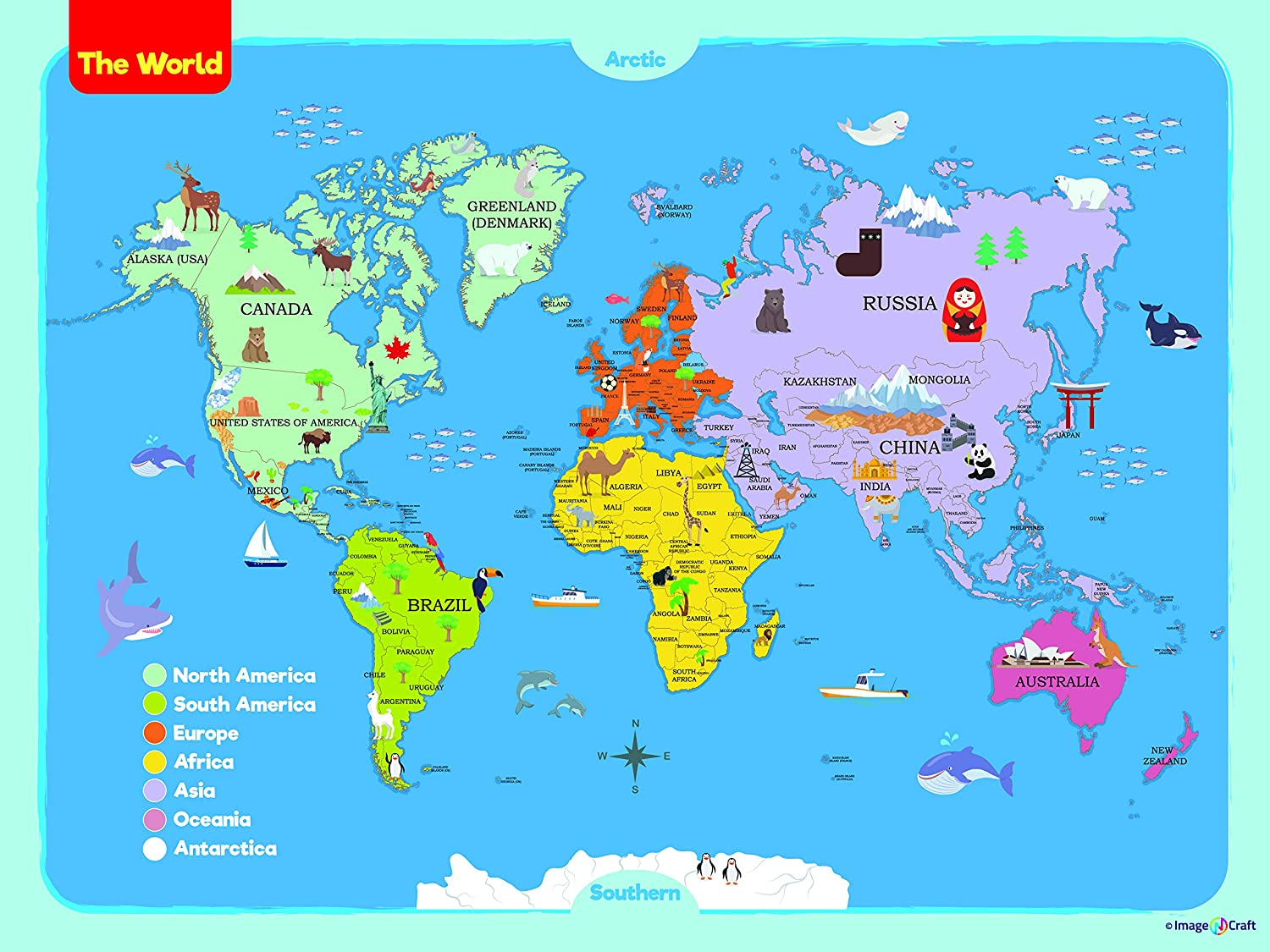 Amazon Com World Map Poster For Kids 24 X 36 Inch By Imagencraft