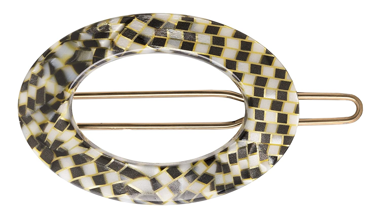 France Luxe New Cutout Oval Tige Boule Barrette - Opera Silver 10001
