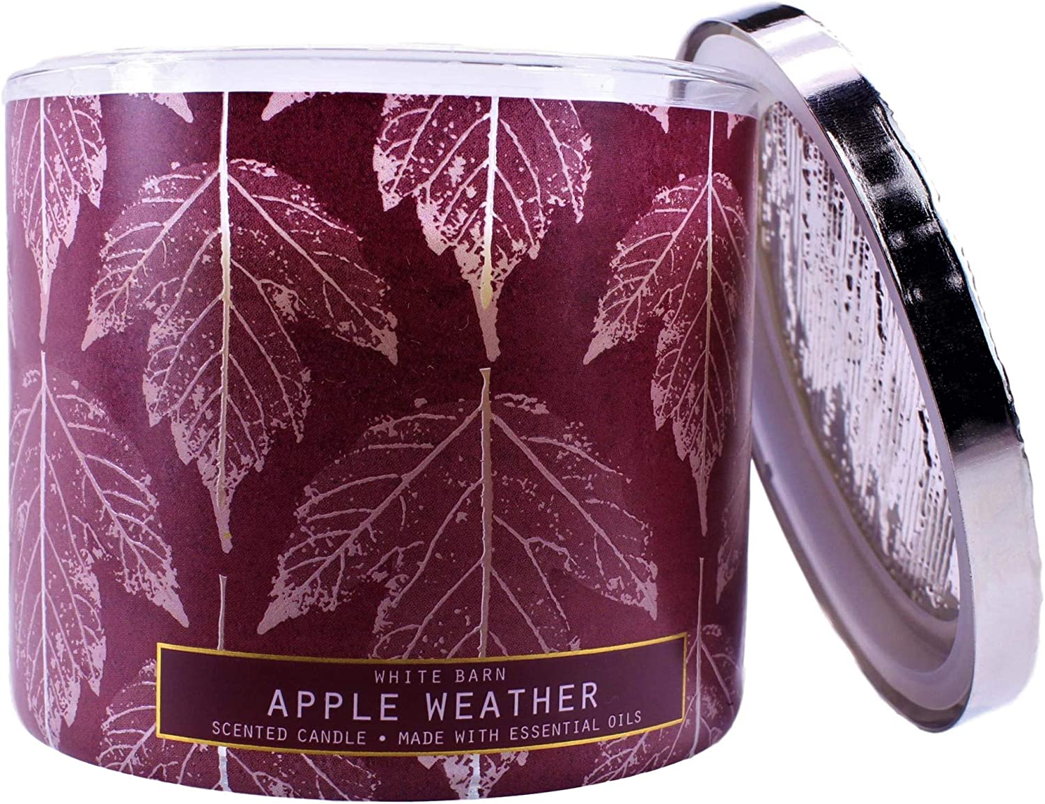 2020 White Barn Bath Apple Weather 3 Wick Candle (Fresh Apples, Lavender Leaves, Cinnamon Bark) W Burn Time of 25-45 Hours