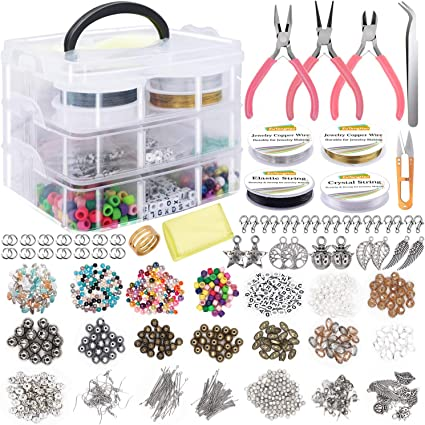 Jewellery Making Starter Kit Craft Components Findings Elastic Cord Thread DIY