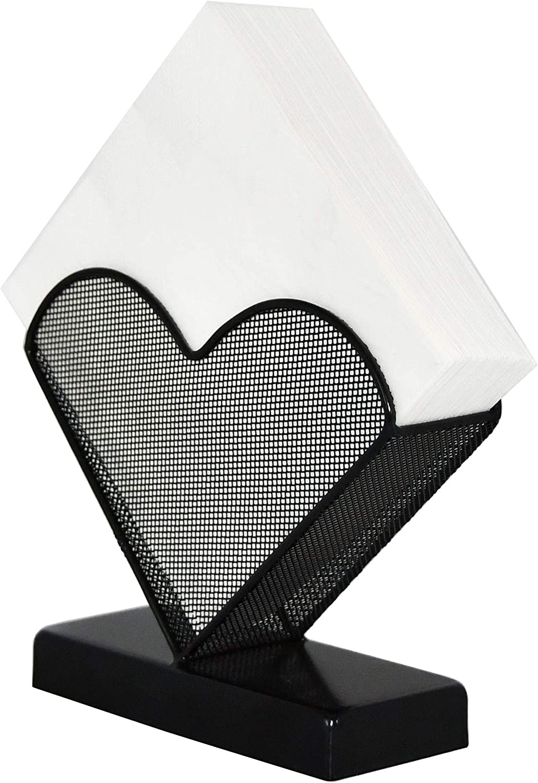 OwlGift Cocktail Napkin Holder, Coffee Filter Holder, Decorative Clear Caddy Beverage Napkin Holder for Tables and Kitchen – Black