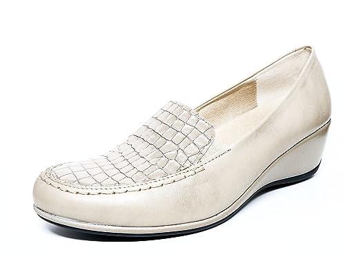 Zapato Casual Mujer Tipo Mocasin en Piel Color Crema grabada de la Marca PITILLOS 821-305: Amazon.es: Zapatos y complementos