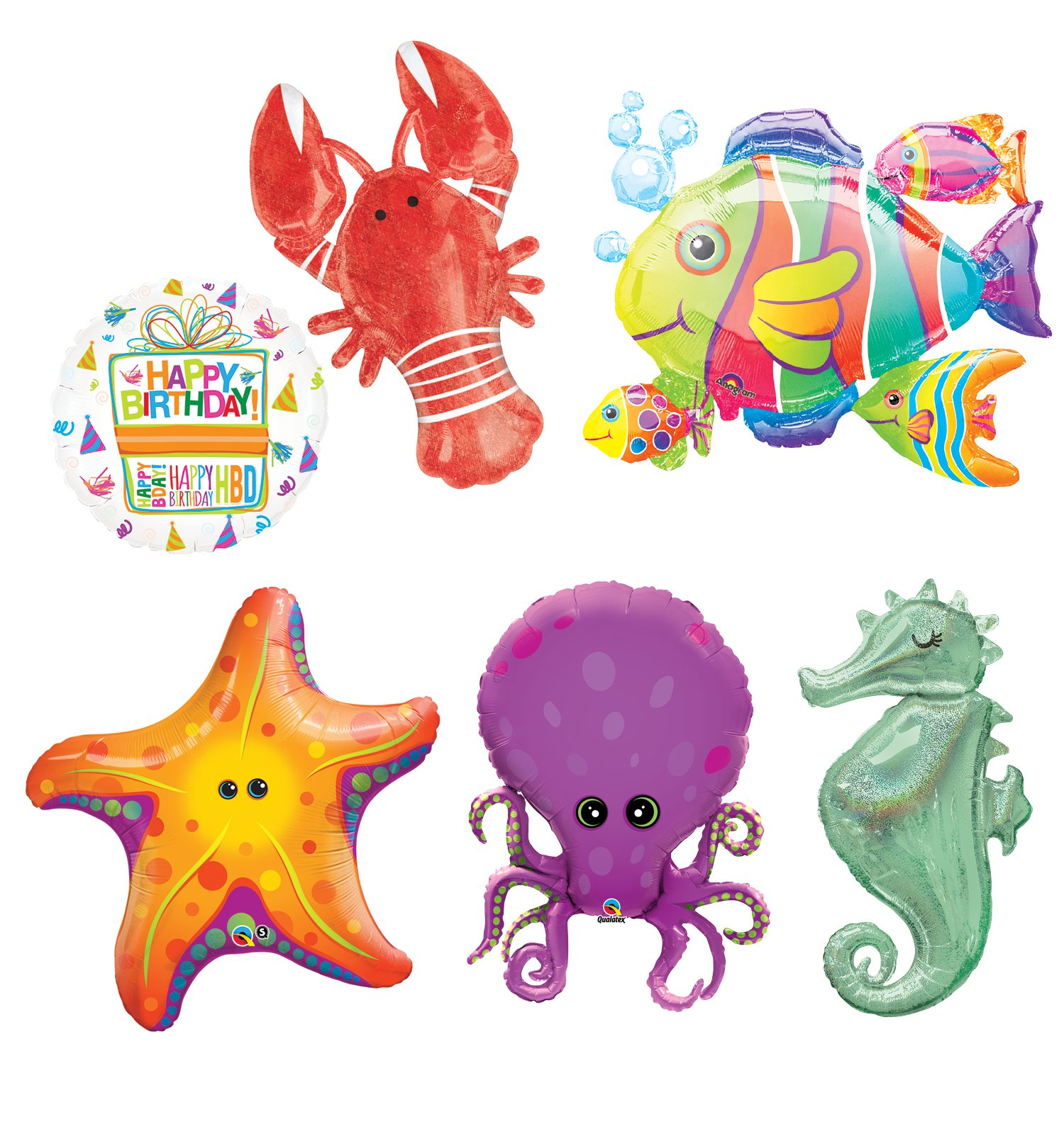 Mayflower Products Under The Sea Animal Party Supplies and Birthday Balloon Bouquet Decorations