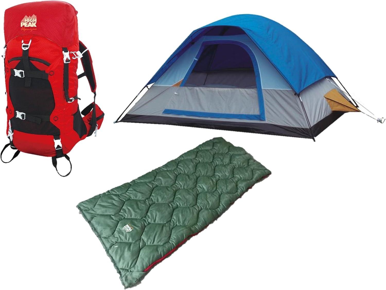 Blue//Green One Size Alpinizmo High Peak USA Kodiak 0F /& Ranger 20F Sleeping Bags One 6 Men Tent Combo Set