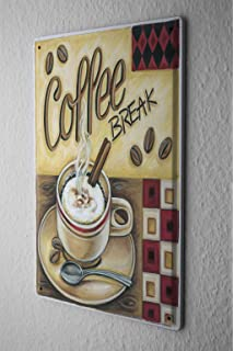Tin Sign Fun Kitchen Decoration Coffee Break Cappuccino Metal Plate 8X12