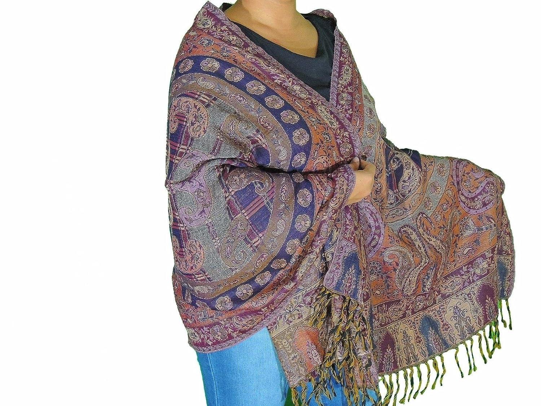 699f947cb2 NovaHaat Multicolor Paisley Wool Shawl - Elegant Evening Dress Winter Scarf  78