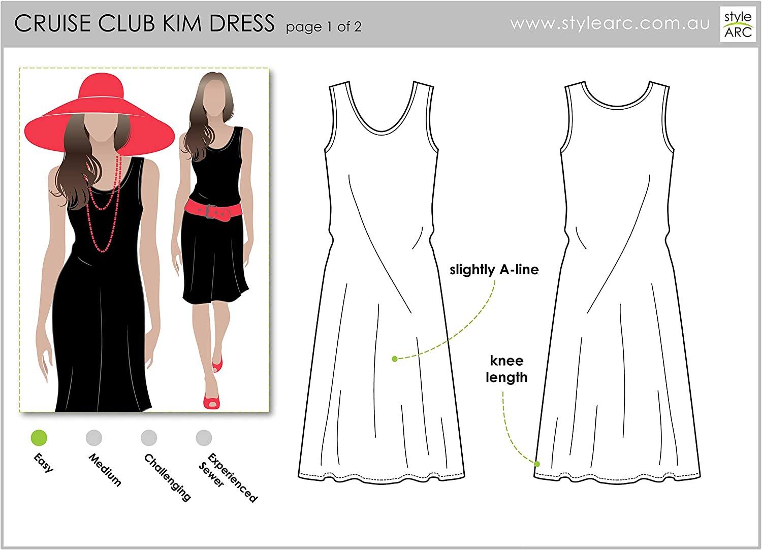 Click for Other Sizes Available by Style Arc Sizes 04-16 Slip on Suzie Dress Style Arc Sewing Pattern