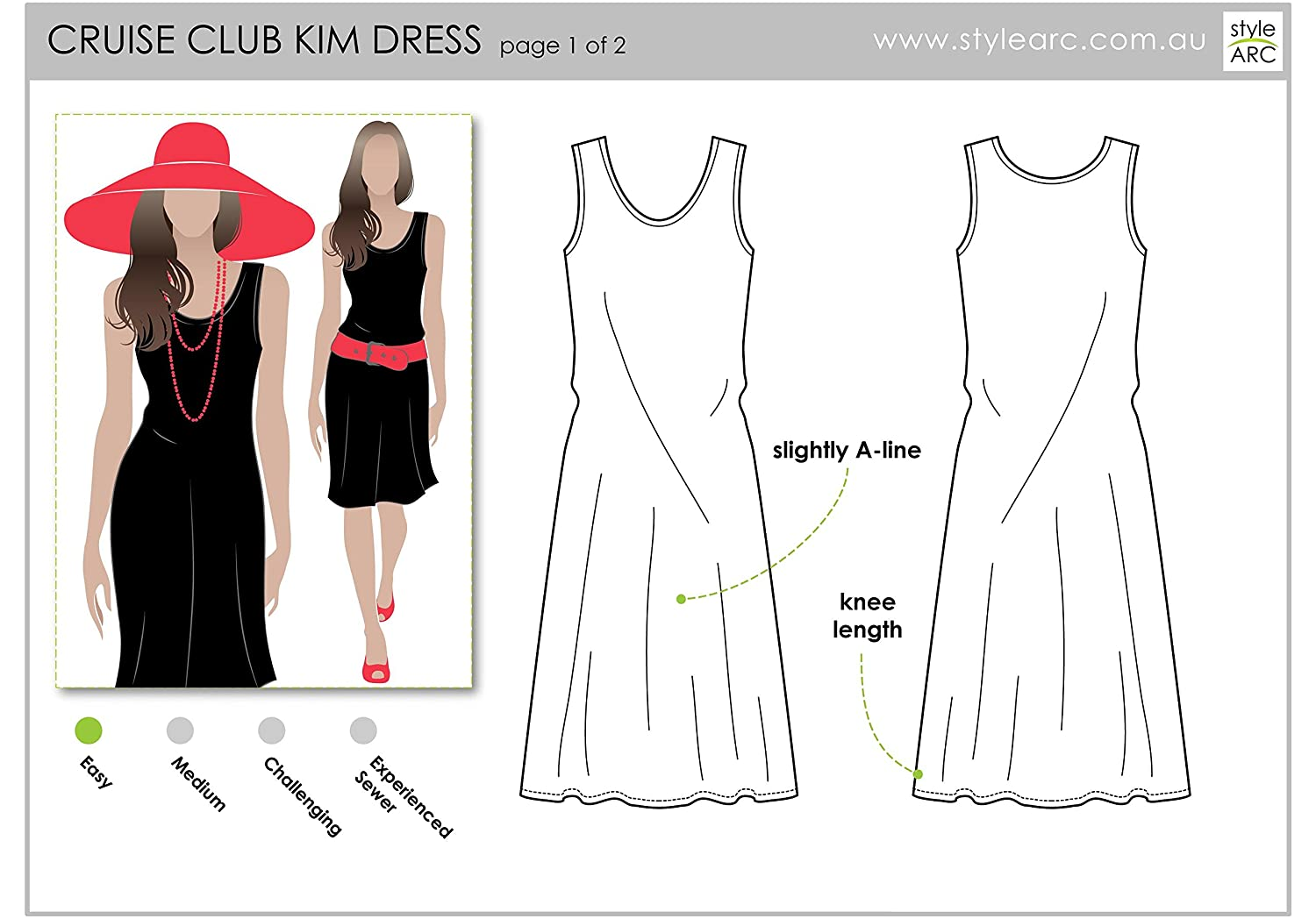 Click for Other Sizes Available Style Arc Sewing Pattern Sizes 18-30 Cruise Club Kim Dress