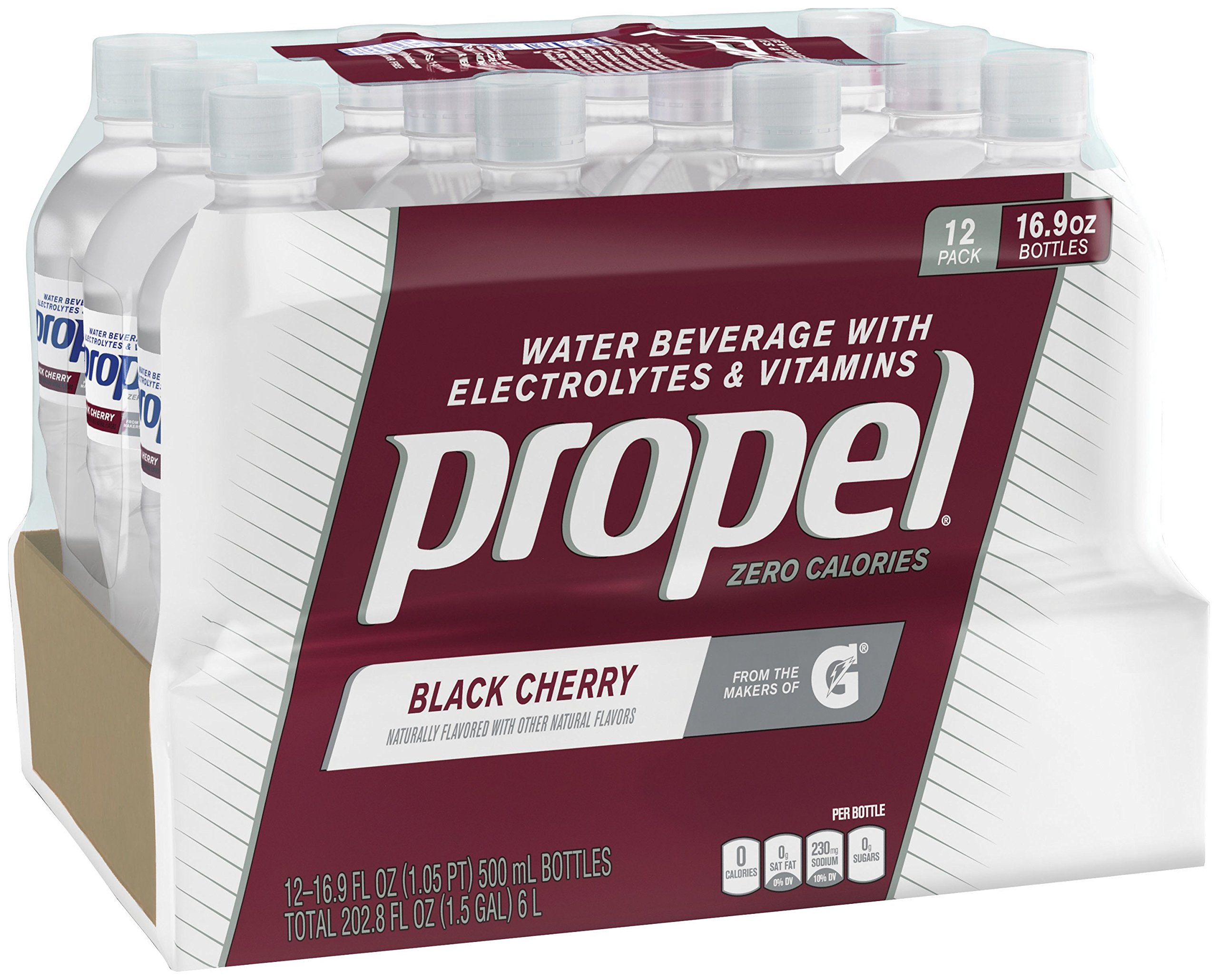 Propel, Black Cherry, Zero Calorie Sports Drinking Water with Antioxidant Vitamins C & E, 16.9 Ounce Bottles (Pack of 12)
