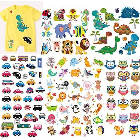 Jungle animals Iron On Patches Washable Heat Transfers Stickers Clothes Applique