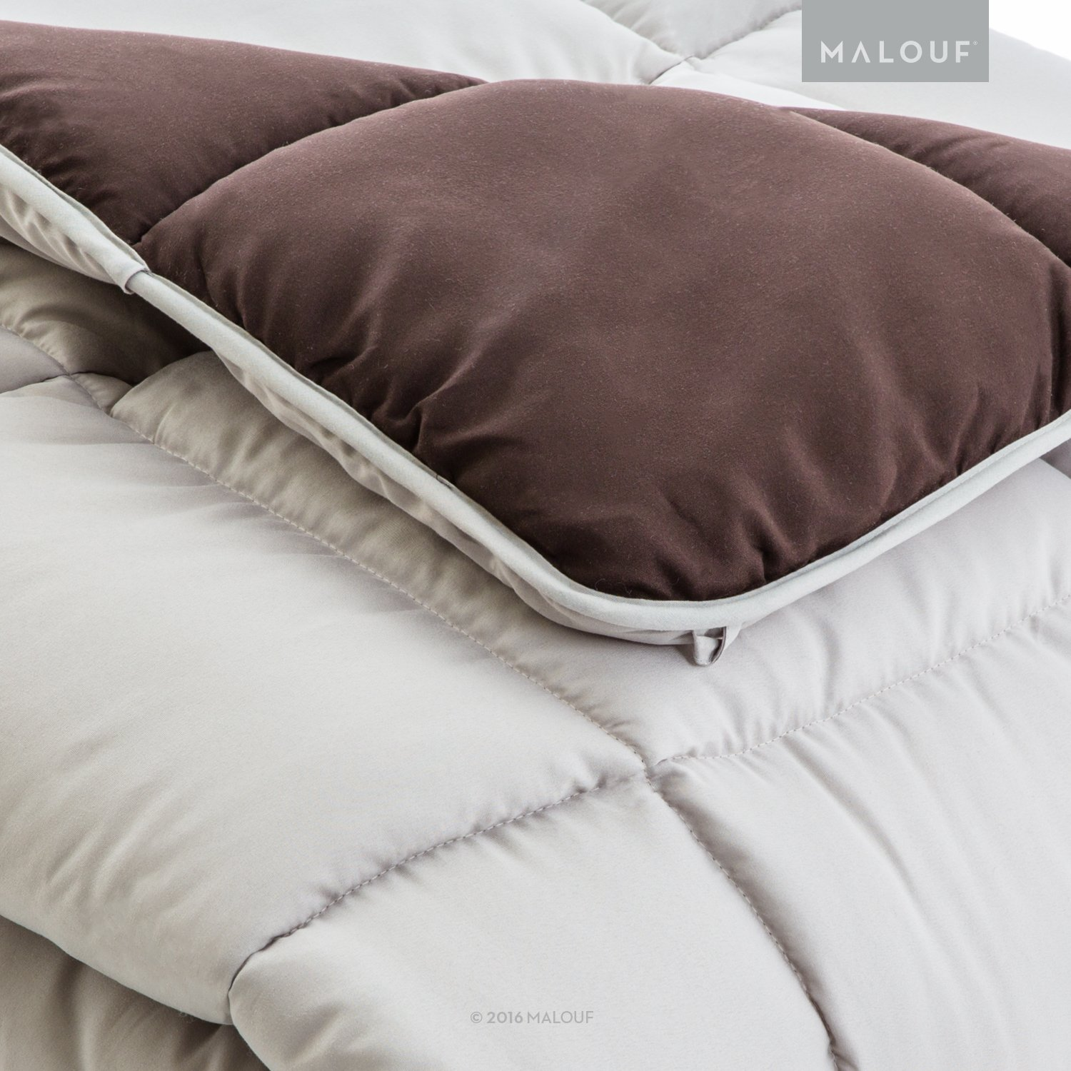 WOVEN Reversible Bed In a Bag Complete Bedding Set - Split Queen - Driftwood/Coffee by MALOUF (Image #2)
