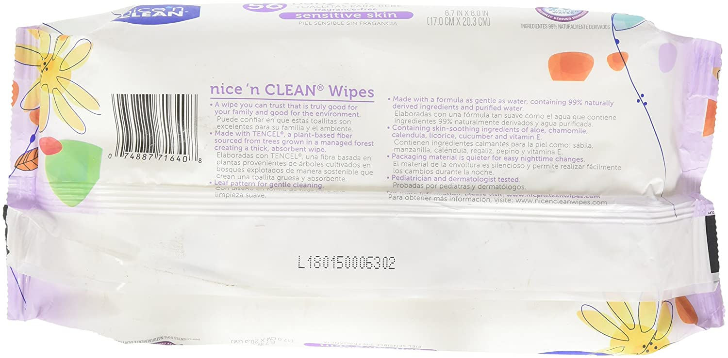 Amazon.com: Nice n Clean Sensitive Skin Baby Wipes, 168 Count: Health & Personal Care