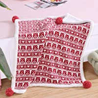 Vanc Home Pram Blanket Knitted Cotton Sherpa Double Layered Baby Crib Quilt Fleece Blanket Red Unisex Owl
